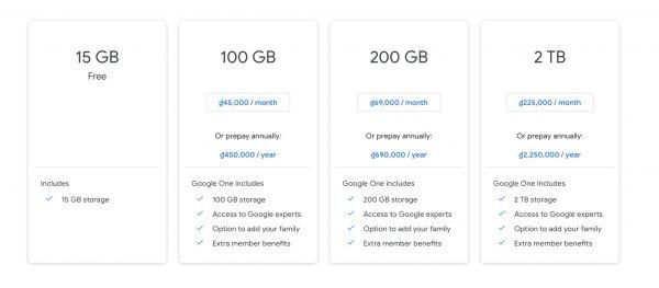 chi phí mở rộng dung lượng google photos