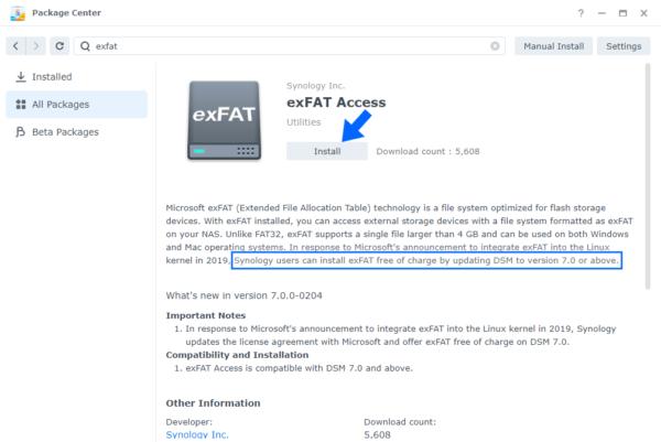 Gói exFAT sẽ miễn phí khi nâng cấp lên DSM 7.0
