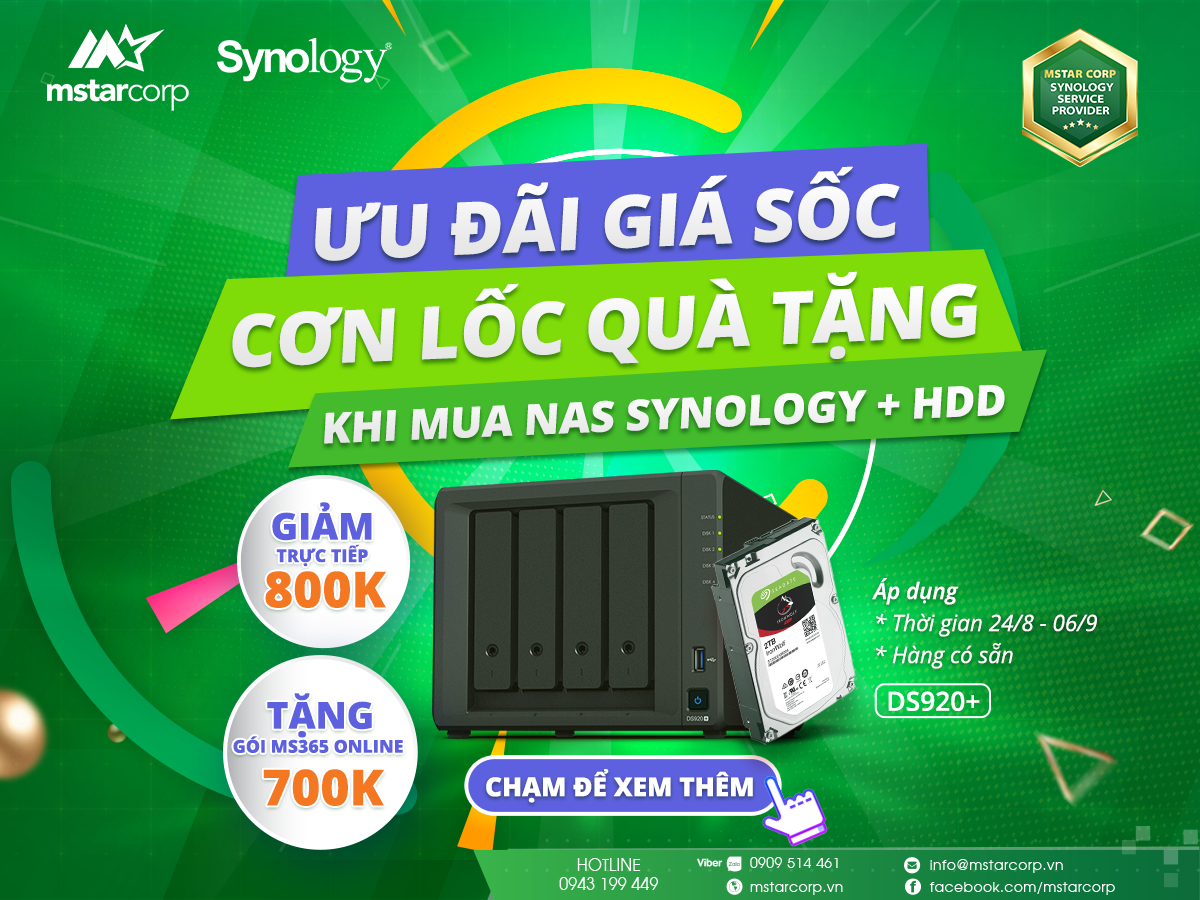 mua Combo bất kỳ NAS Synology + HDD tại Mstar Corp